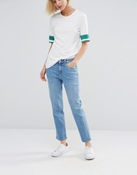 Weekday Ami Mid Waist Crop Jeans Manual Blue