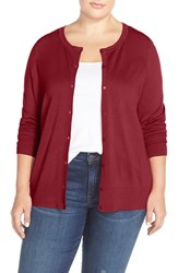 Sejour Plus Size Women's Crewneck Cardigan Red Samba