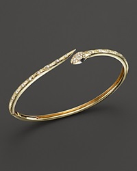 Bloomingdale's Black And White Diamond Snake Bangle In 14K Yellow Gold