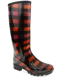 Chinese Laundry Dirty Laundry Ring Leader Rain Boots Women's Shoes Red Plaid