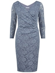 Gina Bacconi Sparkly Lace Wrap Dress Blue