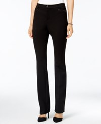 Charter Club Petite Faux Leather Trim Straight Leg Ponte Pants Only At Macy's Deep Black