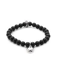King Baby Studio Silver Heart And 8Mm Onyx Beaded Charm Bracelet Silver Black