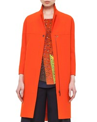Akris Punto 3 4 Sleeve Mid Length Coat Rust Red Women's