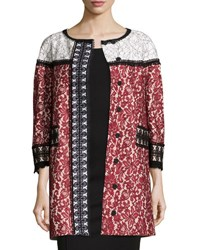 Andrew Gn 3 4 Sleeve Colorblock Lace Coat Cherry