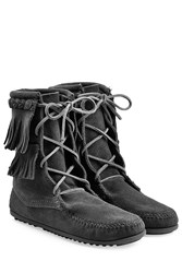 Minnetonka Double Fringe Tramper Suede Boots With Studs Gr. 7