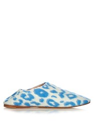 Acne Studios Agata Backless Leopard Print Wool Felt Slippers Blue Multi