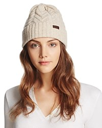 Barbour Lambswool Cuffed Cable Beanie Sand