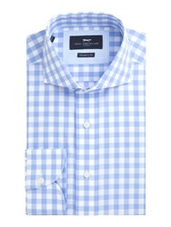 Paul Costelloe Essex Gingham Check Cotton Shirt Light Blue