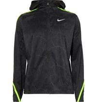Nike Running Impossibly Light Hooded Crackled Printed Ripstop Shell Jacket Gray