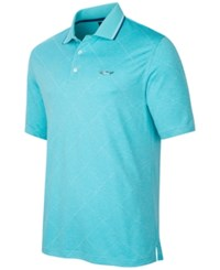 Greg Norman For Tasso Elba Men's Grid Jacquard Performance Polo Only At Macy's Teal