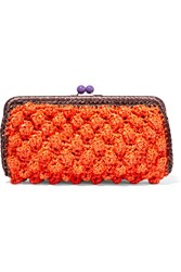M Missoni Woven Faux Raffia Clutch Red
