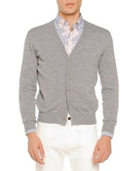 Tomas Maier Merino Cardigan Sweater Light Gray Lt Gray