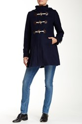 Momo Maternity Maisy Pleated Wool Blend Duffle Toggle Coat Blue