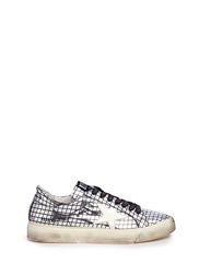 Golden Goose 'May' Grid Pattern Mirror Faux Leather Sneakers Metallic