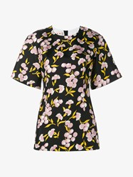 Marni Floral Print Cotton Silk Blend Short Sleeve Top Black Multi Coloured Pink Yellow White
