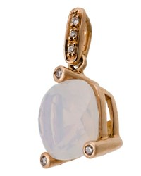 Poiray 18K Rose Gold Milky Quartz And Diamond Pendant White