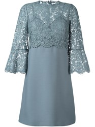 Valentino Lace Crepe Couture Dress Blue
