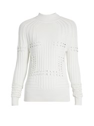 Mary Katrantzou Hardy High Neck 3 D Knit Sweater White
