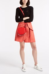 Msgm Chambray Wrap Skirt Red