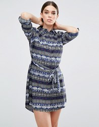 Ax Paris Elephant Printed Shirt Dress Navy