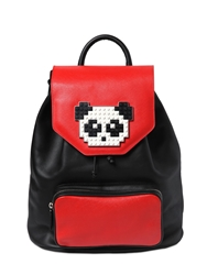 Les Petits Joueurs Freddy Panda Lego On Leather Backpack Black Red