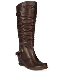 Bare Traps Quivina Hidden Wedge Boots Women's Shoes Dark Brown