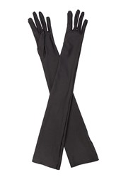 Cornelia James Madeleine Satin Gloves Black