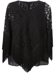 Dolce And Gabbana Floral Lace Poncho Black