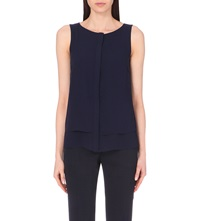 Reiss Liona Sleeveless Chiffon Shirt Midnight