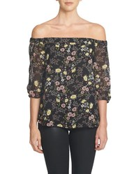 1.State Off The Shoulder Chiffon Blouse Rich Black