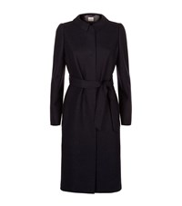 Armani Collezioni Virgin Wool Ruched Belted Coat Female Navy