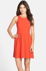 Charles Henry Crepe Fit And Flare Dress Coral