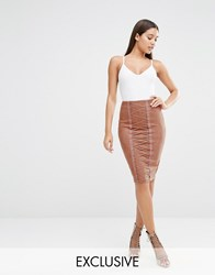 Naanaa Pencil Skirt With Corset Lace Up Detail Dusky Rose Pink