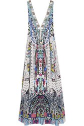 Camilla Maasai Mosh Crystal Embellished Printed Silk Crepe De Chine Maxi Dress Storm Blue