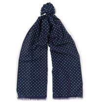 Kingsman Drake's Polka Dot Cotton And Silk Blend Scarf Blue