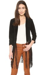 Soia And Kyo Romie Suede Fringe Jacket Black