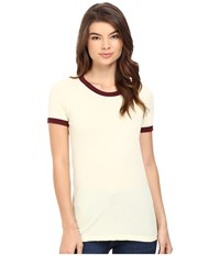 Obey Sold Out Ringer Tee Lemon Port Royale Women's T Shirt White