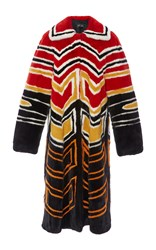Proenza Schouler Long Intarsia Mink Coat Black Red Yellow