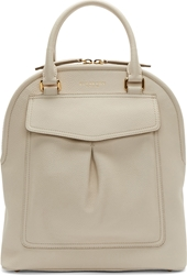 Burberry Off White Pebbled Leather Medium Bowling Bag