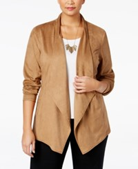 Jm Collection Plus Size Faux Moleskin Jacket Only At Macy's Willow Brown