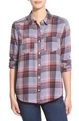 Junior Women's Bp. Plaid Flannel Shirt Grey Granite Angela Pld