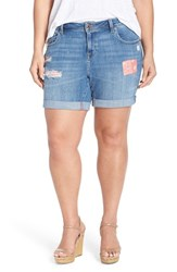 Plus Size Women's Lucky Brand 'Georgia' Patch Detail Embroidered Roll Cuff Denim Shorts