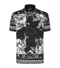 Dolce And Gabbana Old West Embellished Polo Shirt Male Black