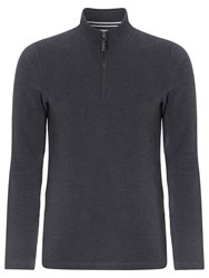 John Lewis French Rib Zip Neck Jumper Charcoal
