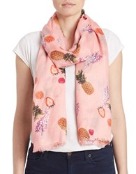 Bindya Fringe Fruit Scarf Pink