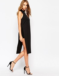 Missguided Side Split Tunic Top Black
