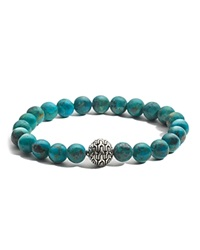 John Hardy Batu Classic Chain Sterling Silver Large Beaded Bracelet With Turquoise Turquoise Silver