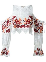 For Love And Lemons Flower Embroidered Blouse White