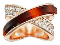 Guess Look Of Two Crisscross Bands Ring Rose Gold Red Tort Ring